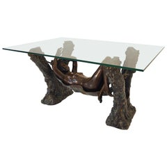 Coffee Table Bronze with Nude Female France Sculpural Table