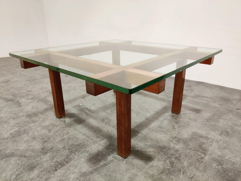 Glass Coffee Table by Alfred Hendrickx for Belform, 1960s For Sale