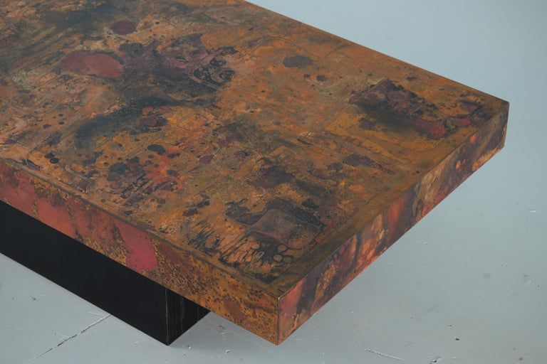 Coffee Table by Bernhard Rohne, 1966, Oxidized and Etched Copper For Sale 4