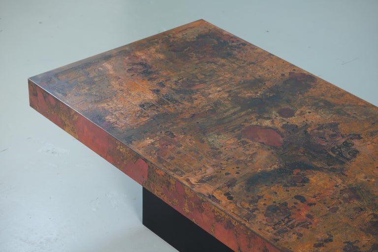 Coffee Table by Bernhard Rohne, 1966, Oxidized and Etched Copper For Sale 5