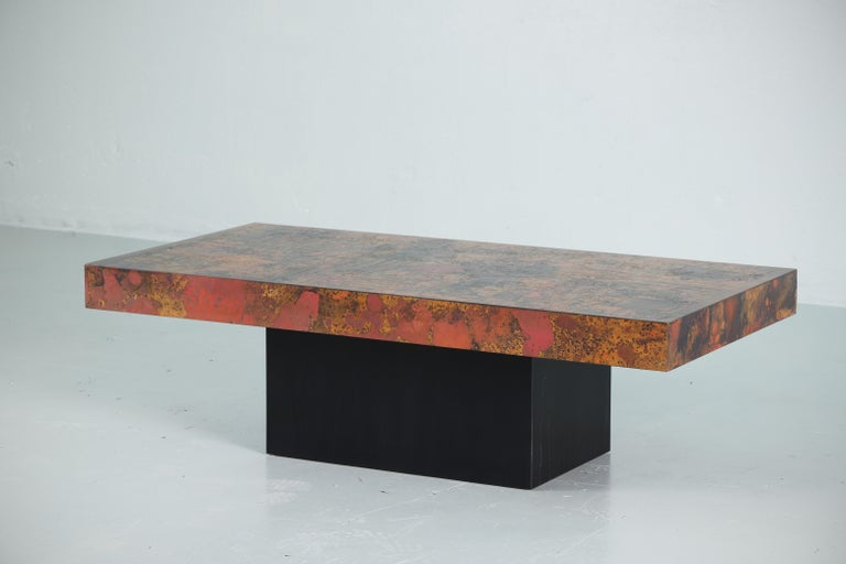 Brutalist Coffee Table by Bernhard Rohne, 1966, Oxidized and Etched Copper For Sale