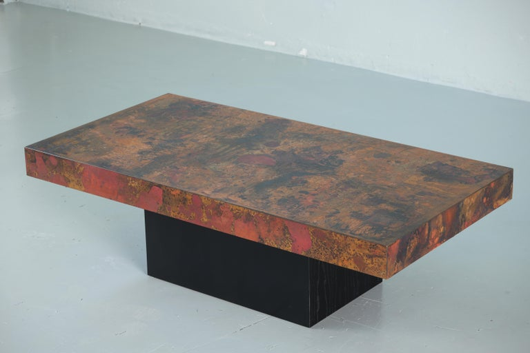 German Coffee Table by Bernhard Rohne, 1966, Oxidized and Etched Copper For Sale