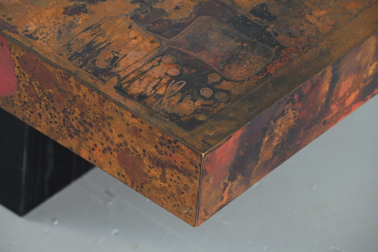 Coffee Table by Bernhard Rohne, 1966, Oxidized and Etched Copper In Good Condition For Sale In Asnières-sur-Seine, France
