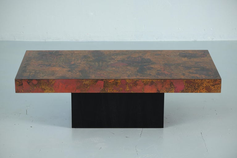 Coffee Table by Bernhard Rohne, 1966, Oxidized and Etched Copper For Sale 1