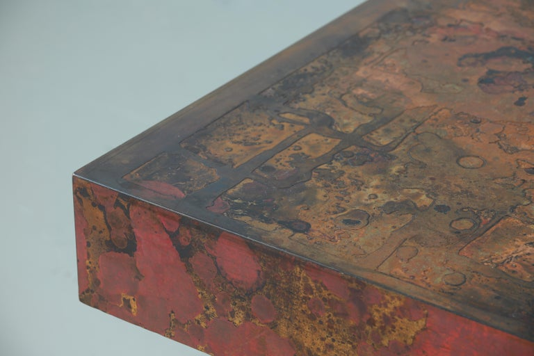 Coffee Table by Bernhard Rohne, 1966, Oxidized and Etched Copper For Sale 3
