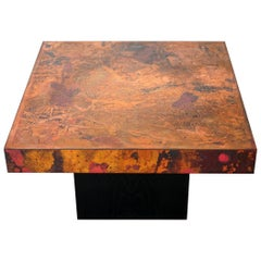 Coffee Table by Bernhard Rohne, 1966, Oxidized and Etched Copper