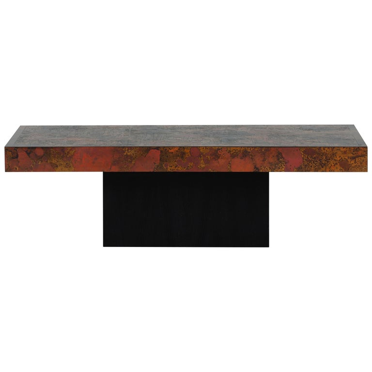 Coffee Table by Bernhard Rohne, 1966, Oxidized and Etched Copper For Sale