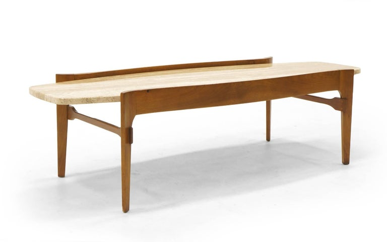 Pair of Bertha Schaefer coffee table. Walnut with travertine top made by Singer and Sons.