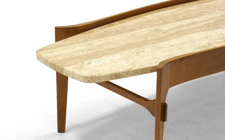 Coffee Table by Bertha Schaefer, Walnut with Travertine Top For Sale 1