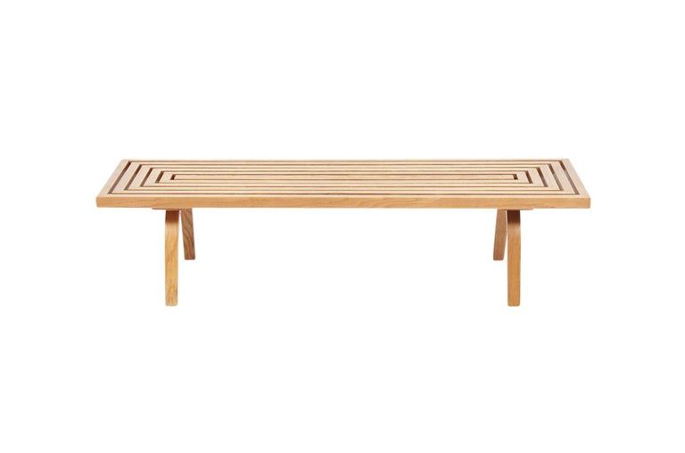 1940s slatted oak bench designed by noted architect Edward Durell Stone for Fulbright furniture.