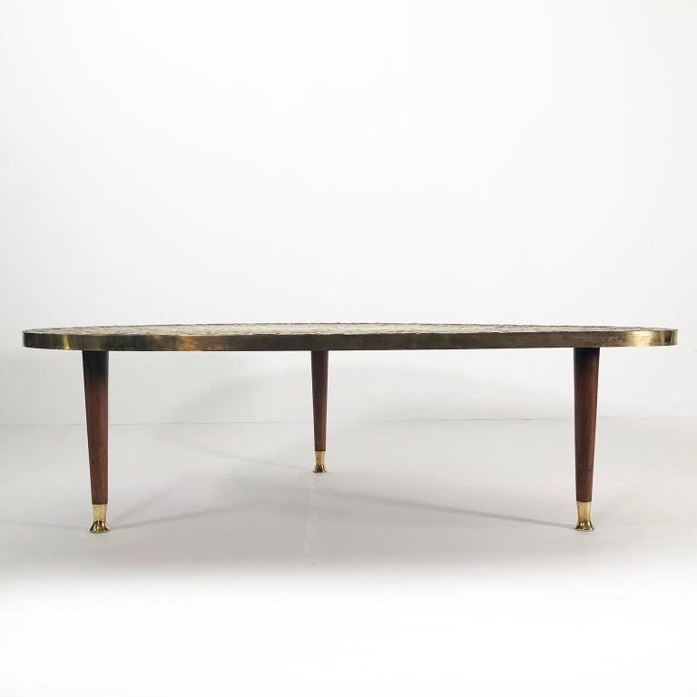 Stunning tripod coffee table in oval form handmade by striking mosaics signed by