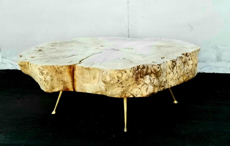 Coffee Table By Gimo Fero in Style of Gorge Nakashima In Distressed Condition For Sale In Los Angeles, CA