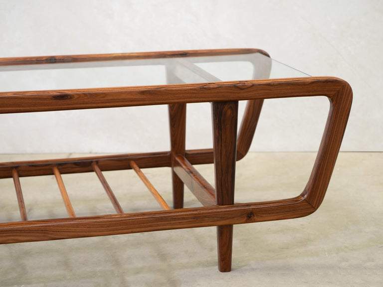 Rosewood Coffee Table by Giuseppe Scapinelli, Brazilian Mid Century ModernDesign For Sale