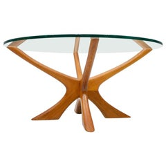 Coffee Table by Illum Wikkelso T-118 in Teak and Glass, Denmark, 1960s