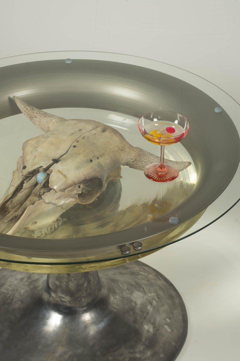 Coffee Table with Cow Skull in Epoxy Resin, 2018 For Sale 1