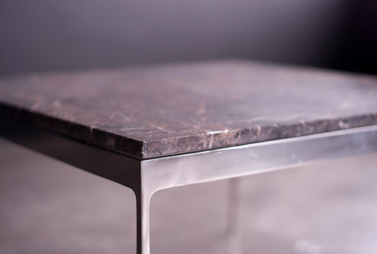 American Coffee Table by Nicos Zographos with Spectacular Stone Top For Sale