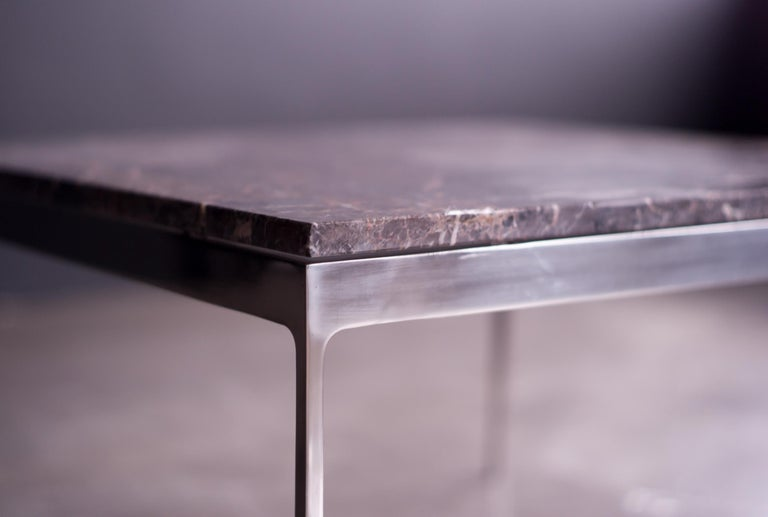 Polished Coffee Table by Nicos Zographos with Spectacular Stone Top For Sale