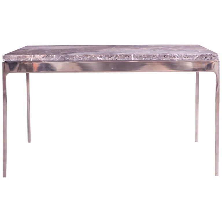 Coffee Table by Nicos Zographos with Spectacular Stone Top For Sale