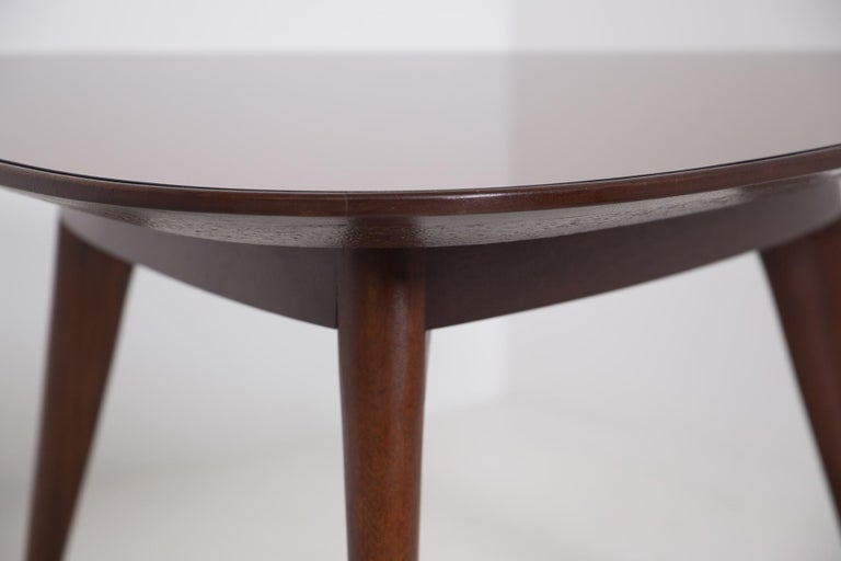 Italian Coffee Table by Osvaldo Borsani in Wood and Dark Orange Mirror, 1950s For Sale