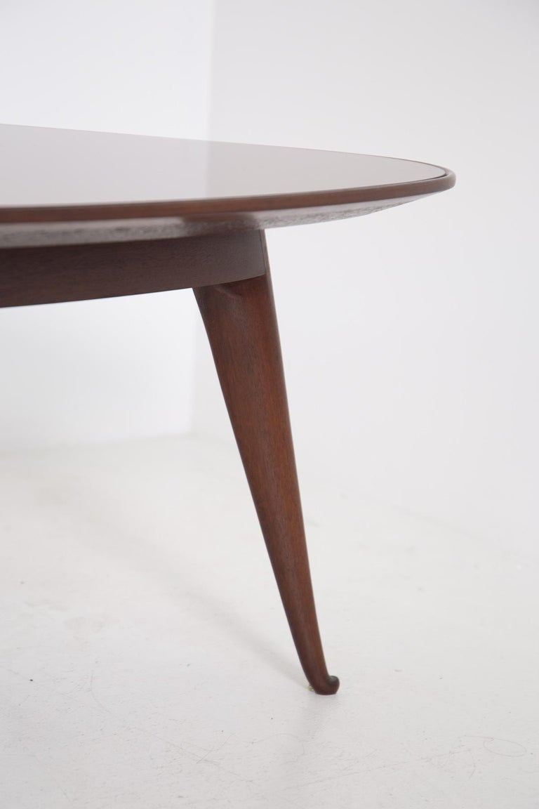 Mid-20th Century Coffee Table by Osvaldo Borsani in Wood and Dark Orange Mirror, 1950s For Sale