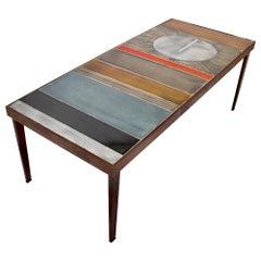 Coffee Table by Roger Capron Ceramic Table au Soleil Sun Motif Vallauris, c 1965