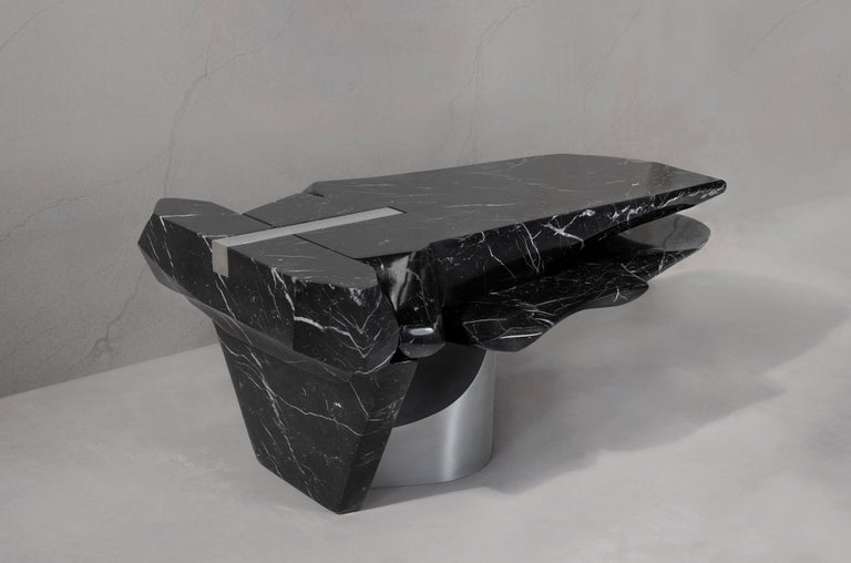 Spanish Coffee Table by Todomuta Studio Black Marble Aluminum Stainless Steel For Sale