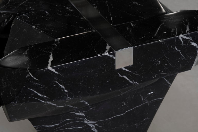 Coffee Table by Todomuta Studio Black Marble Aluminum Stainless Steel In New Condition For Sale In Beverly Hills, CA