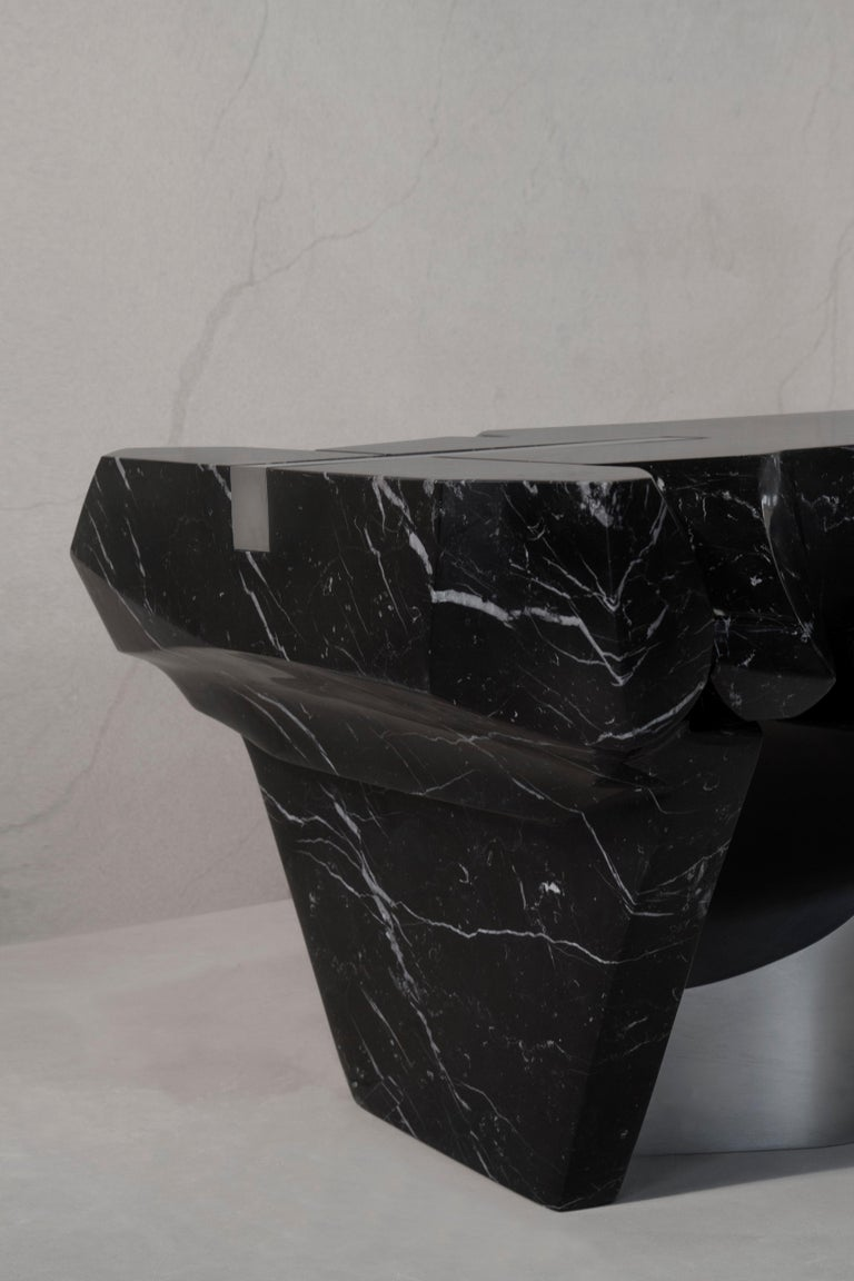 Coffee Table by Todomuta Studio Black Marble Aluminum Stainless Steel For Sale 1