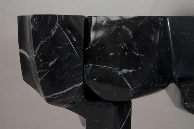 Coffee Table by Todomuta Studio Black Marble Aluminum Stainless Steel For Sale 3