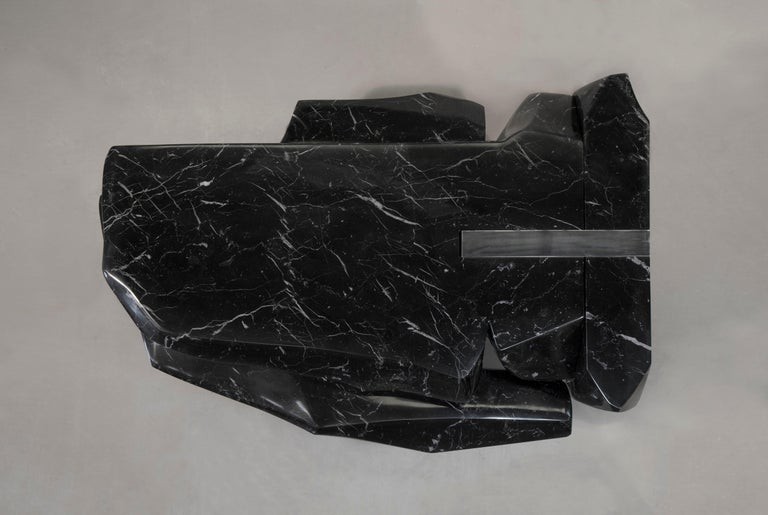 Coffee Table by Todomuta Studio Black Marble Aluminum Stainless Steel For Sale 4