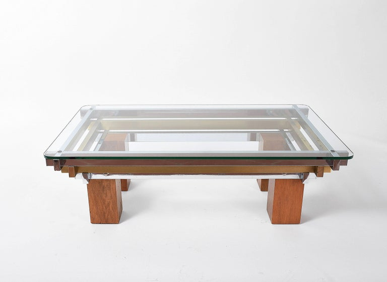 Coffee Table Chrome Br And Wood Attributed To Nucci Vals Italy 1970s For
