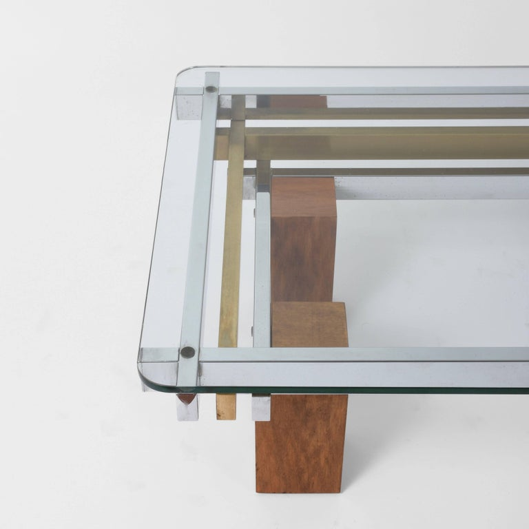 Artimeta Attributed Square Metal And Glass Coffee Table At: Coffee Table Chrome Brass And Wood Attributed To Nucci