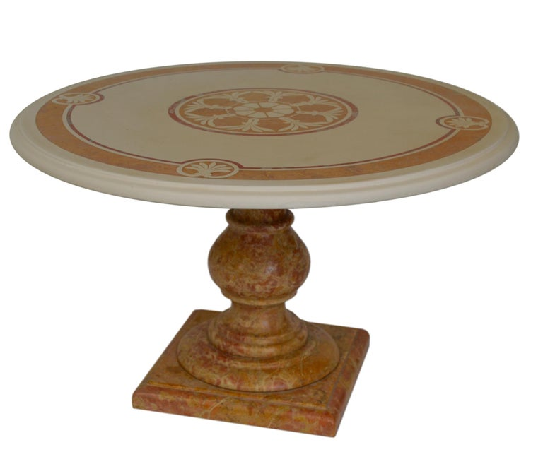Decorative coffee table designed by Cupioli made in Italy. Inlaid scagliola art top with Classic decor and turned royal yellow marble base. This item has been manufactured by skilled craftsmen who distinguish Cupioli products and this is a one of