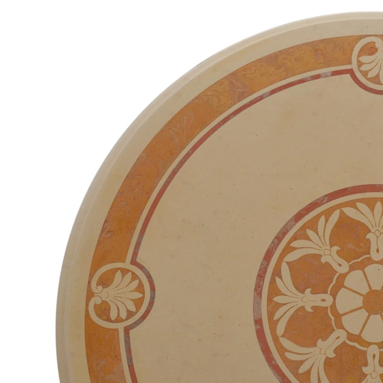 Italian Round Cream Coffee Table Scagliola Art Inlaid Top  Royal Yellow Marble Base For Sale