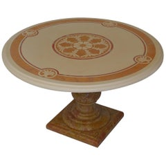 Round Cream Coffee Table Scagliola Art Inlaid Top  Royal Yellow Marble Base