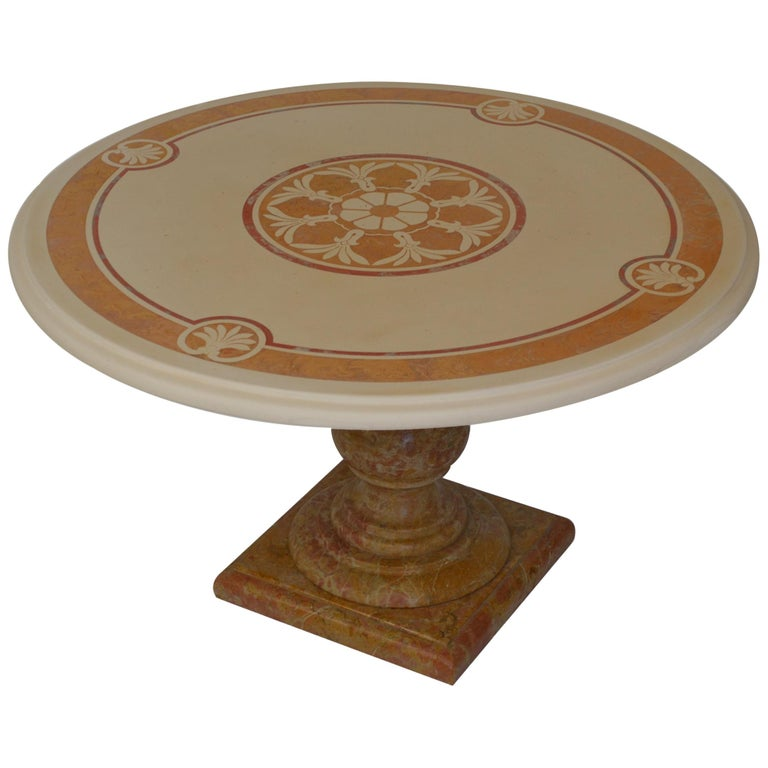 Round Cream Coffee Table Scagliola Art Inlaid Top  Royal Yellow Marble Base For Sale