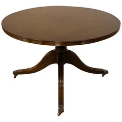 Coffee Table, Cocktail Table, Regency Style Single Pedestal Mahogany, English