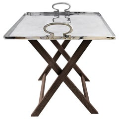 Coffee Table Colony with Aluminum Movable Top Tray and Wooden Easel Designed by
