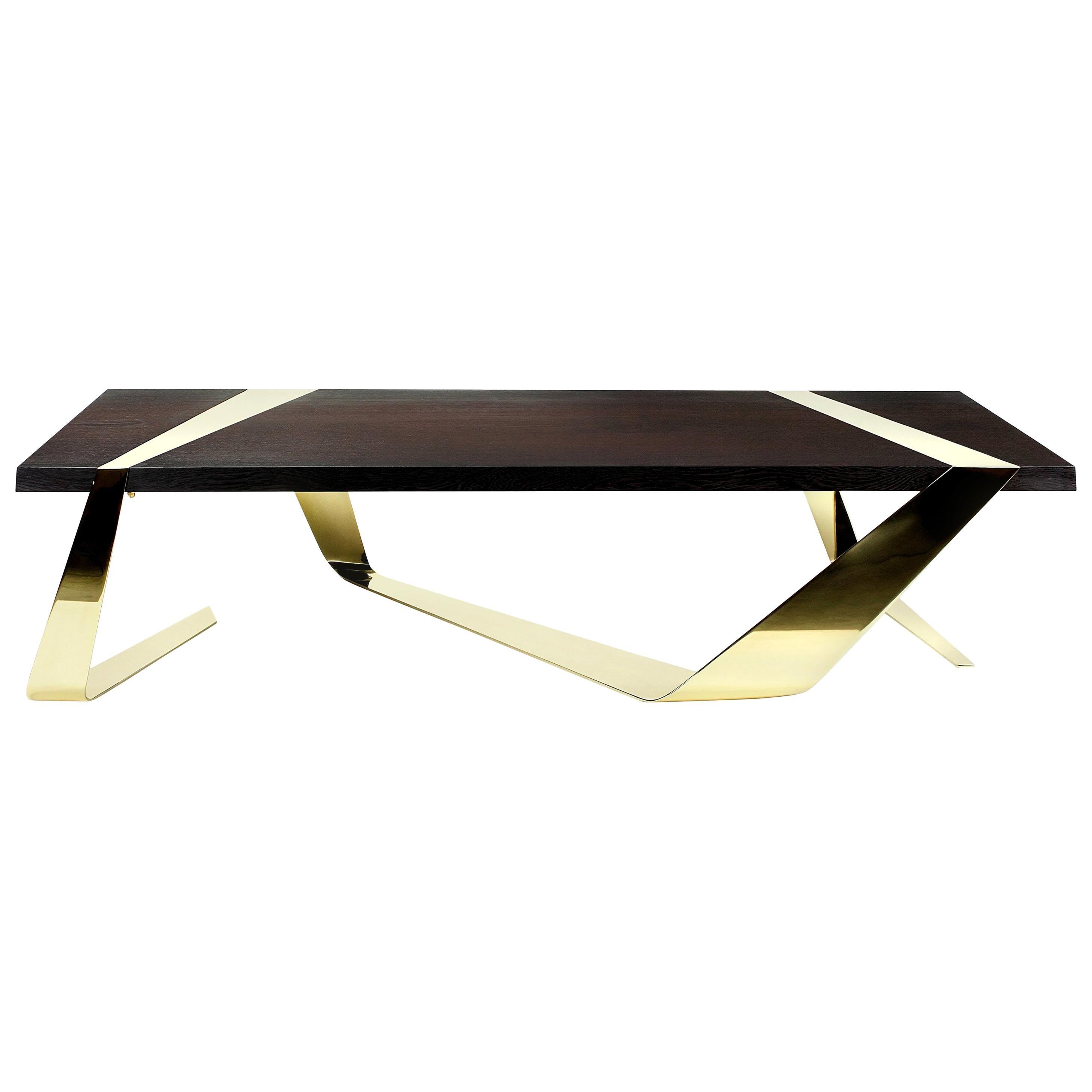 Coffee Table Contemporary Design Futuristic Wood Brass Italian Limited Edition