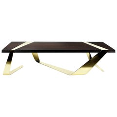 Coffee Table Contemporary Design Futuristic Wood Brass Italian Limited Edition