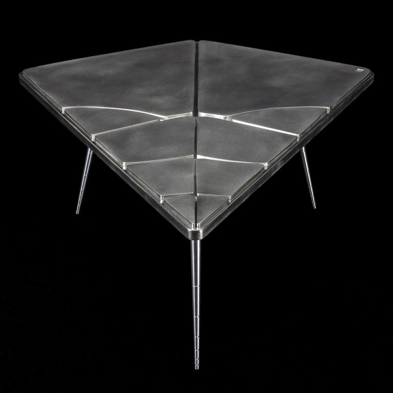 """In stock, made in France: This contemporary coffee table is a unique piece, created by Xavier Lavergne and sold with """"Certificate of Authenticity"""". Top is made of wood wrapped with pewter, like a French bar countertop. It will develop a unique"""