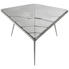 "Coffee Table, ""Crack XLA4"" Made of Wood Wrapped with Pewter"