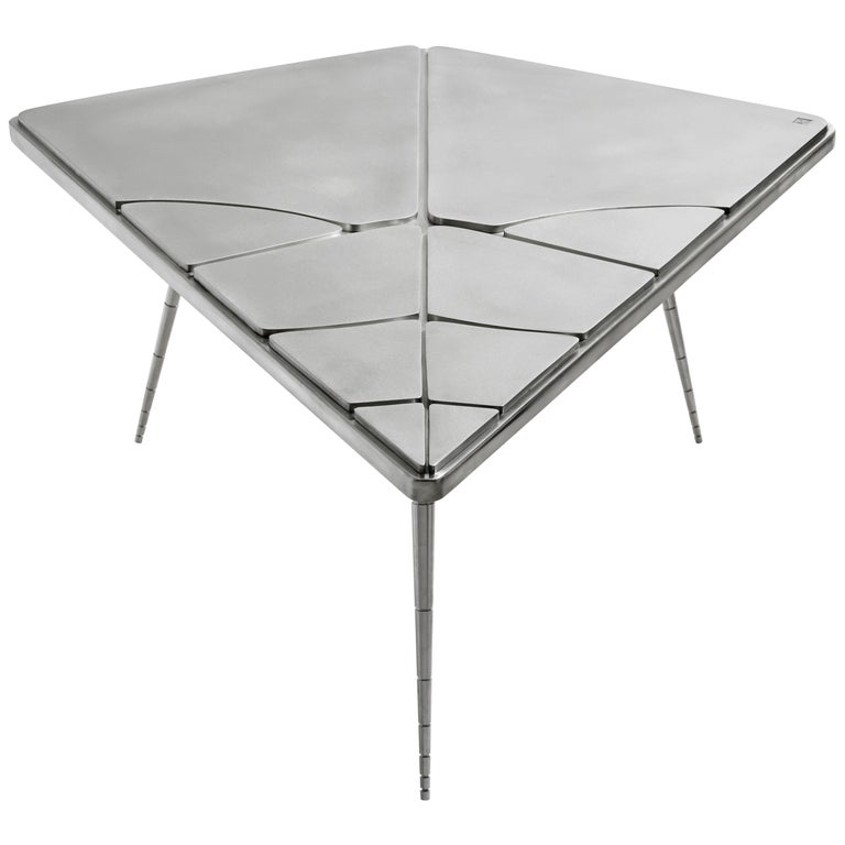 """Coffee Table, """"Crack XLA4"""" Made of Wood Wrapped with Pewter For Sale"""