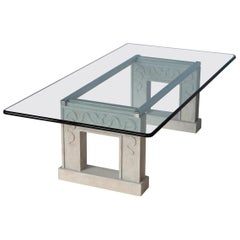 Contemporary  Coffee Table Crystal Glass Top Carved Stone Legs Steel Frame