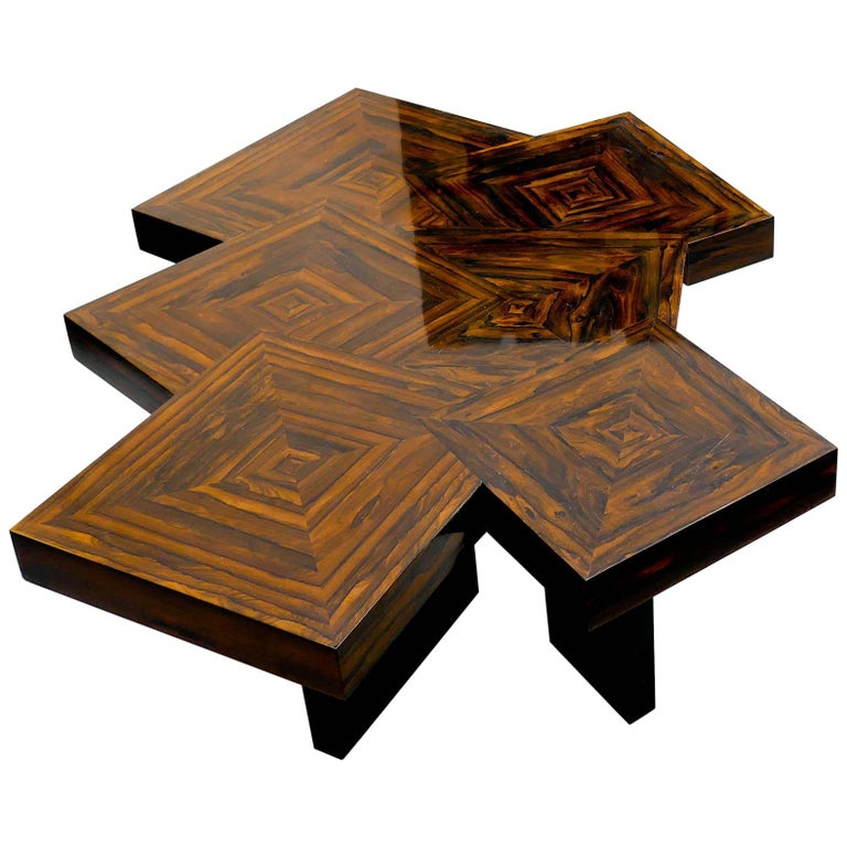 Coffee Table Cubes In Ziricote Wood Marquetery By Aymeric Lefort