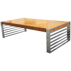 Coffee Table Design Briar Wood and Chrome Metal Willy Rizzo Attributed