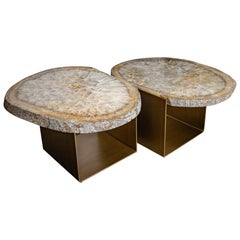 Coffee Table, Double Brazilian Agate with Brass-Plated Antique Patina Metal Base