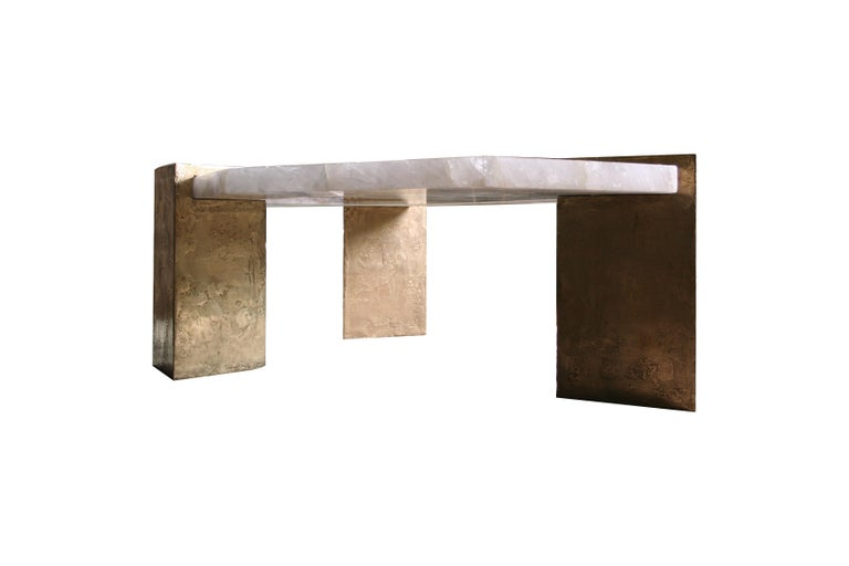 Coffee table in rock crystal and cast aluminium Texture in brass Designed by the Artist/Designer Jean-Yves Lanvin .  Size: 160* 90 cm, height 40 cm Customers can choose from : - Type of metal: Brass, aluminium, bronze - Type of stone.