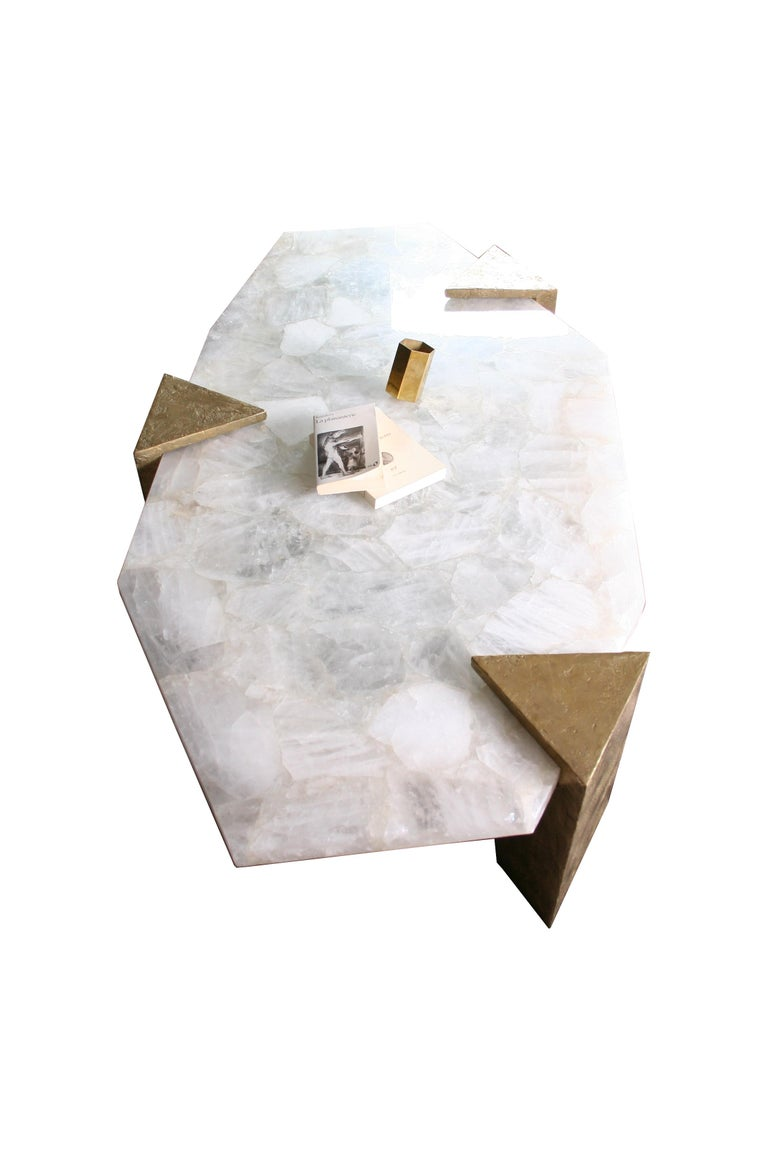 French Coffee Table Gemini in Rock Crystal by Jean-Yves Lanvin For Sale