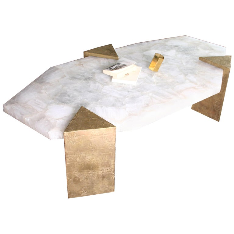 Coffee Table Gemini in Rock Crystal by Jean-Yves Lanvin For Sale